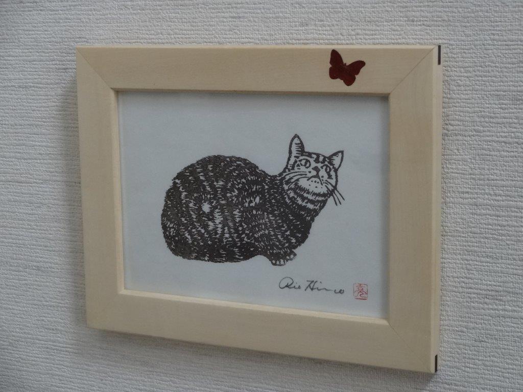 平野さん猫版画と額縁